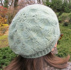 Free knitting pattern for beret with lace stitch Autumn in Garrison pattern by Kate Gagnon Osborn