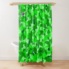 """Camouflage shower curtain, green hue, """"Bringing the Outdoors vibe Indoors"""". Shower Curtains, Hue, Camouflage, Outdoors, Indoor, Green, Design, Interior, Military Camouflage"""