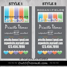 Vertical Gray Rodan and Fields business cards by OutOfNormal
