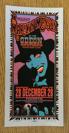 Original silkscreen concert handbill for Marilyn Manson at The Odeon in Cleveland, Ohio in 1995 . 4.5 x 8.5 inches on card stock. Art by Mark Arminski.