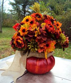 Autumn Floral Arrangement Table Centerpiece Fall Thanksgiving Pumpkin of Flowers Deep colors