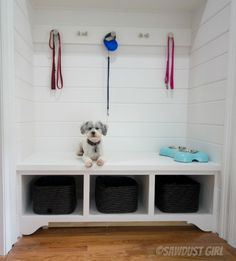 Laundry room and mudroom bench DIY. I built a storage and upper cabinets in my side entry. I plan to add drawers under the bench at some point to hold shoes. For now, baskets will do. Shoe Rack Plans, Mudroom Storage Bench, Corner Storage, Diy Storage, Entryway Bench, Storage Ideas, Build Your Own Garage, Sawdust Girl, Tool Bench