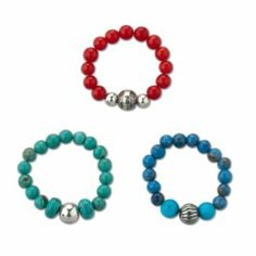 Sterling Silver Coral Turquoise Denim Lapis Beaded Stretch Ring Set - Fashion Jewelry