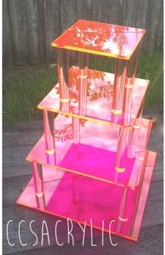 NEW Fluorescent Acrylic Square 4 Tier Cupcake/Cake Stand by CCSAcrylic {Wedding, Party, Events}
