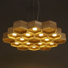 Newest Art designer hive Wooden pendant lighting 6lamps 12lamps Led Lights Honeycomb Ash-tree Wood Suspension lamp Free Shipping