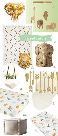 "1. Gold Elephant Head, Etsy, $29.99 2. Jungle Animals Mobile, Land of Nod, $56 3. Souk Rug, West Elm, $199 (3 x 5) alts available at Rugs USA 4. Rattan Elephant Hamper, Home Depot, $80 5. Golden Lion Head, Etsy, $29.99 (8.5"" x 8"") 6. Arrows Decals, Etsy, $15"