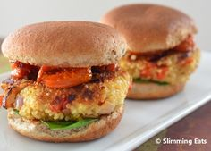 Slimming Eats Roasted Red Pepper and Feta Quinoa Burgers - gluten free, vegetarian, Slimming World and Weight Watchers friendly Veggie Recipes, Vegetarian Recipes, Cooking Recipes, Healthy Recipes, Healthy Menu, Yummy Recipes, Recipies, Slimming Eats, Slimming World Recipes