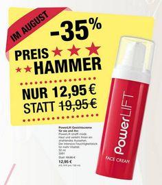 August #Preishammer -35% - PowerLift #Gesichtscreme für sie und ihn. UNSER TOPSELLER für mehr Vitalität für energiebedürftige Haut! Spektakuläre und beeindruckende Resultate mit dem Wow-Effekt.