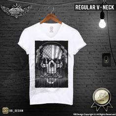 No Music No Life USA Flag Men's Skull T-shirt MD202 G