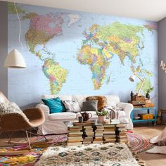 East Urban Home Wolfeboro World Map x 98 Wall Mural East Urban Home This map wall mural is both educational and stylish. Major cities of each country pepper the map, along with rivers and geological landmarks. Giant World Map, World Map Wallpaper, World Map Decor, World Map Wall Art, Wallpaper Murals, Map Wall Decor, Wall Maps, Wall Mural, Rivers