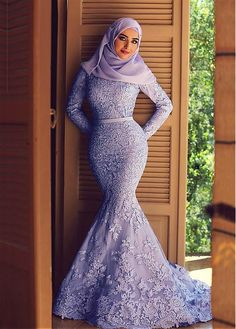 Elegant Tulle Natural Waistline Mermaid Arabic Islamic Wedding Dresses with Beaded Lace Appliques