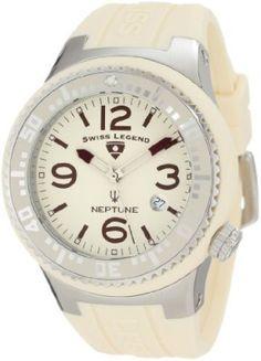 Relógio Swiss Legend Men's 21848P-016 Neptune Cream Dial Cream Silicone Watch #Relogios #SwissLegend