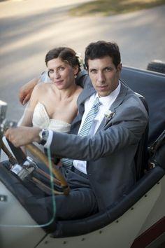 style me pretty - real wedding - usa - connecticut - connecticut wedding - bride & groom - getaway car