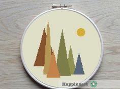 Cross stitch pattern mountains, geometric pattern, modern cross stitch,  PDF ** instant download**