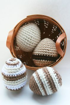 Easter Eggs spring decor set of 4 in basket by Loopedwithlove4U, $15.00  Not every Easter/spring decoration needs to be pastel. How about these beautiful natural colored crochet eggs?