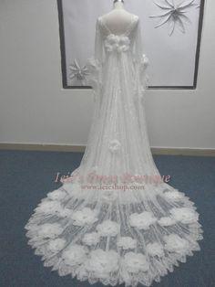 Vintage Retro Medieval Inspired Waterlilly Wedding Dress by ieie, $689.95