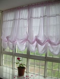 Victorian Pink With White Lace Adjustable Balloon Curtain Http://www.ebay.