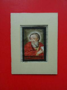 Gouache gemalt Barock Paulus von Tarsus Apostel parchment Baroque 1736 Antique