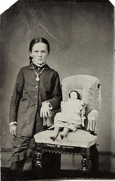 Civil War Era Tintype Photo Portrait of Girl Young Woman with Doll | eBay