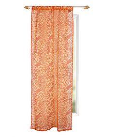 Orange Floral Curtain Panel #zulily #zulilyfinds