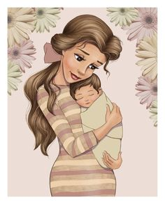 Kristen Reeves Disney Belle & Her Baby Disney Belle, Film Disney, Cute Disney, Disney Art, Disney Pixar, Disney Descendants, Disney Princess Drawings, Disney Princess Art, Disney Drawings