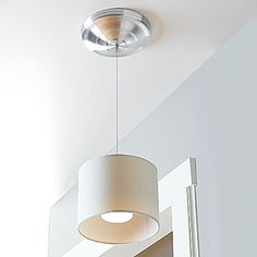 Wireless LED Fabric Pendant Light -- battery operated, includes remote, no electrician needed. perfect for renters :)      $60
