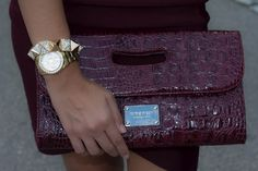 Pyramid and diamonds bracelet, GUESS watch, and maroon clutch. Beautiful!  http://stylishlyinlove.blogspot.com/