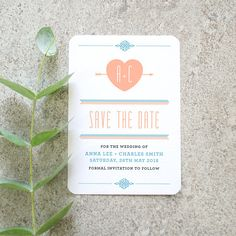 Folksy Boho 'Save the Date' Card / 'Lovestruck' Modern Wedding Engagement Card / Peach Light Blue / Custom Colours Available / ONE SAMPLE