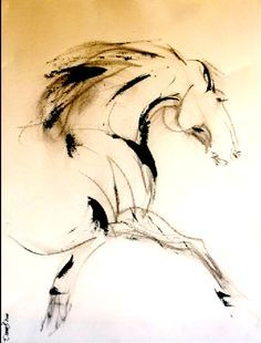 Ink Drawings Of Horses | ... horse, contemporary horse art, horse painting, ink horse, ink painting