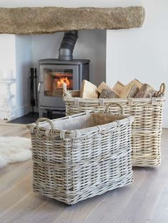 Nordic House Rattan Log Basket Set on Wheels These large Log Baskets, made in natural rattan, are ideal for storing logs or kindling by the fire. Wood Storage Box, Firewood Storage, Storage Baskets, Firewood Holder, Firewood Basket, Rattan, Wicker, Patio Bar Set, Pub Set