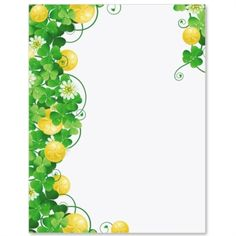 Coins and Shamrocks Letter Paper from Idea Art Computer Paper, Borders And Frames, Coins, Stationery, Clip Art, St Pats, Lettering, Irish, Printables