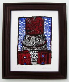 """""""Winter Nutcracker"""" - 8x10 Art Print A beautifully detailed 3-color portrait of a Nutcracker in the snow.  Titled, Signed and Numbered by the Artist, Paul Coenen."""