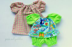 This adorable doll clothes set is sure to bring a smile to a little girls face! Included are: one garden-print shirt with green pin-dot gathered