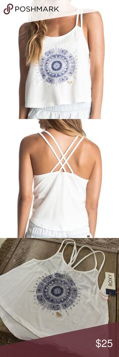 • crop top • 100% Cotton,  Strappy style,  Scoop neck,  Double straps crossed on the back,  Cotton jersey fabric,  Loose fit,  Print mix embroidery on centre front,  Enzyme wash. Roxy Tops Crop Tops