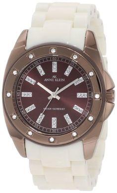 Anne Klein Women's 10/9179BNIV Swarovski Crystal Accented Brown Ion-Plated Ivory Resin Watch
