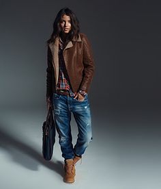 Boyfriend jeans with leather coat