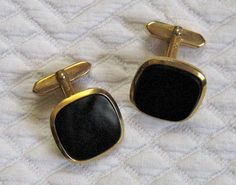 Vintage Gold and Onyx CUFF LINKS 1960s by vintagous on Etsy, $10.00