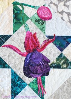 Quilt Pattern  PDF  Fuchsia Applique Art Quilt by JaneLKakaley, $10.00