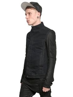 Rick Owens Plinth AW2013 DIRTY DENIM JACKET WITH LEATHER SLEEVES