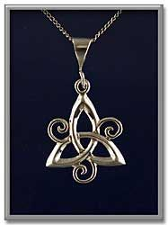 """Spiral Triquetra Pendant - Simple three-part knot embellished with delicate tendrils at the crossings, made of sterling silver. The pendant measure 1 1/2"""" long, including the bail. Comes with an 18"""" sterling silver chain."""