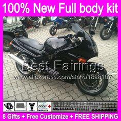 ALL Gloss black 93-01 For KAWASAKI NINJA ZX11  B451 ZX11R 11 ZZR 1100 1993 1995 1996 98  2000 2001 ZZR1100  +decal glossy blk #Affiliate