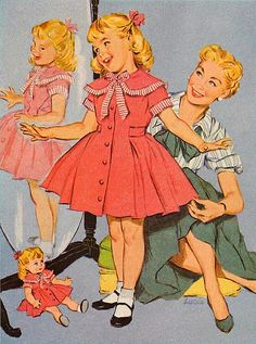 1950s: Girl's fashion almost seems to be an imitation or parody of 1840s berthas and big skirts hen sillhouttes