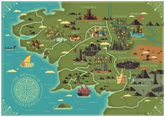 Map of the realms of Middle Earth illustrated by studio MUTI.
