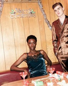 Camisole top blue velvet and matching skirt, Monsoon, copper satin jacket and trousers Asos