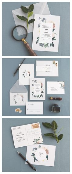 mae modern floral wedding stationery