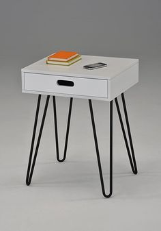 """White Side End Table Nighstand Black Metal Legs with One Drawer 24""""H - Mid-Century Style"""