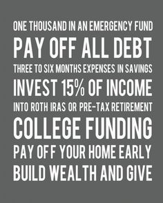 Dave Ramsey plan in a nutshell.  Currently working on this. Not easy but it is totally possible!