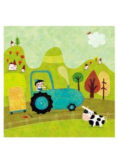 Affiche, Le petit Léon et son tracteur A013 de La parenthèse enchantée sur DaWanda.com