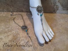 Turquoise and Crystal Barefoot Sandals Feet by Bodynovelties, $56.00