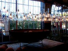 vintage chemistry funnels as pendant lights